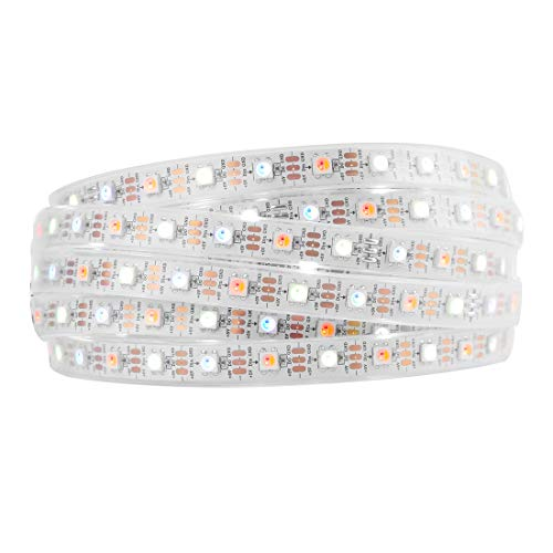 BTF-LIGHTING RGBW RGBCW White SK6812 (Similar WS2812B) 16.4ft 5m 60leds/Pixels/m Individually Addressable Flexible 4 Color in 1 LED Dream Color LED Strip Waterproof IP67 DC5V