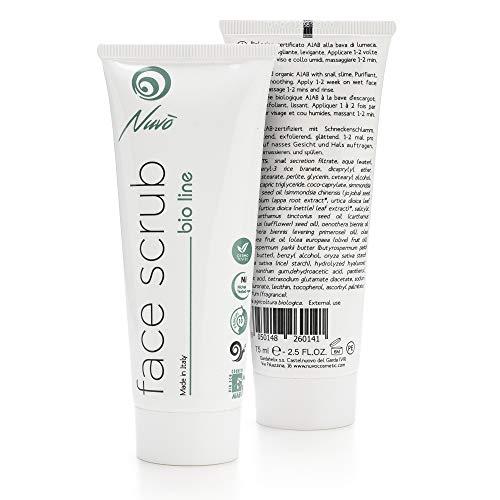Nuvo\' Schneckenschleim Gesichtspeeling Face Scrub -BIO-zertifiziertes- für das Gesicht. Gentle Peeling Exfoliator mit Primulaöl, Olivenöl und Vitamin B5. Made in Italy 75ml