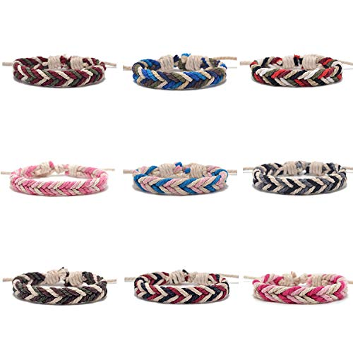 Lemu Jewelry 9pcs Wrap Bracelets Men Women, Hemp Cords Ethnic Tribal Bracelets Wristbands