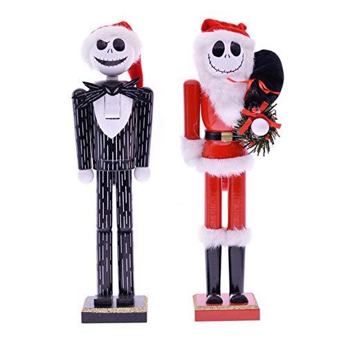 EDCV pop ornamenten thuis kamer decoratie accessoires 35cm vintage houten schedel standbeeld notenkraker sculptuur beeldje kerst, HT-0030