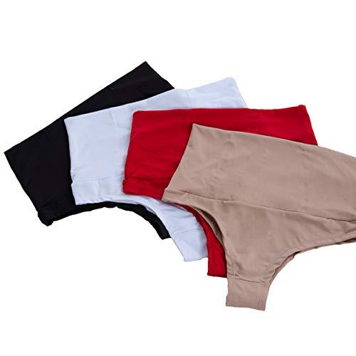Kit com 4 Calcinhas Cintura Cós Alto | Kit 4un. 5167 cor:preto/nude/vermelho/branco;tamanho:M