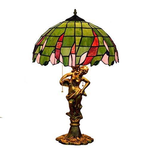 DIMPLEY Lámpara de Mesa Tiffany, 3 Luces Vintage Tallado a Mano Escultura Escultura Arte Decorativo lámpara de Noche con Pantalla Verde de Cristal para Sala de Estar