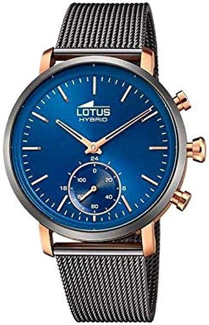 LOTUS Reloj Modelo 18805/2 de la colección Connected, Caja de 42 mm Azul con Correa de Acero Gris Oscuro para Caballero