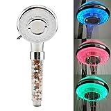 brieftk Cabezal de ducha LED de filtración iónica, cabezal de ducha de alta presión de mano de 7 colores, cambio automático, iones negativo, doble...