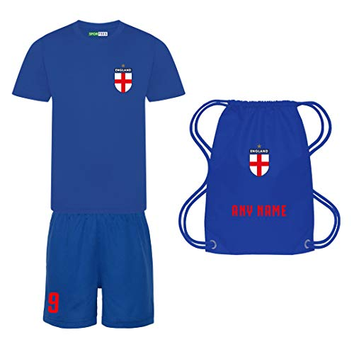 Sportees Retro Kids Personalised Royal Blue 2020 England Style Football Kit With FREE Gym Bag Youth Football England Boys Or Girls Football Jersey 56 Years