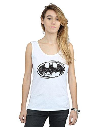 DC Comics Damen Batman Sketch Logo Muskelshirt Weiß Small
