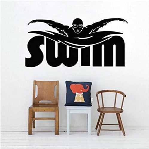 Pegatina de pared para jugador de natación, adorno para habitación de niños, natación, deportes atléticos, vinilo, pegatina de pared para gimnasio, decoración del hogar, palabras de nadador 57x27cm