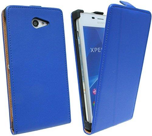 ENERGMiX Klapptasche Schutztasche kompatibel mit Sony Xperia M2 (D2303) in Blau Tasche Hülle