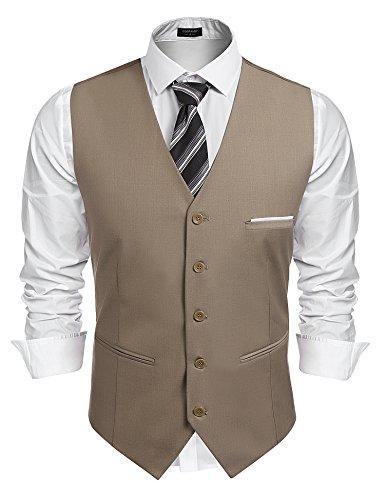 Burlady Herren Western Weste Herren Anzug Weste V-Ausschnitt Ärmellose Westen Slim Fit Anzug Business Hochzeit, Kamel, M