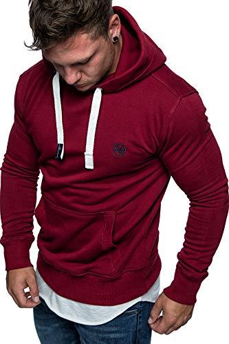 Amaci&Sons Herren Basic Logo Kapuzenpullover Sweatjacke Pullover Hoodie Sweatshirt 1-04028 Bordeaux XL