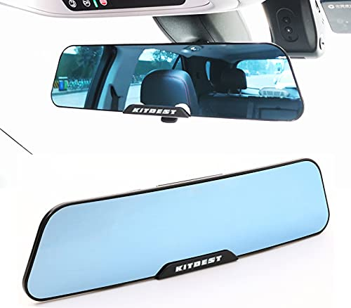 """KITBEST Rear View Mirror, 11.8 Inches Anti Glare Rearview Mirror, Wide Angle Panoramic Convex Rearview Mirror Clip on Car Mirror to Eliminate Blind Spot for Cars SUV Trucks (11.8"""" L X 2.9"""" H)"""