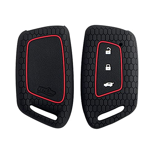 Keycare KC64 Silicone Key Cover Compatible for MG Hector New Smart Key (Black)