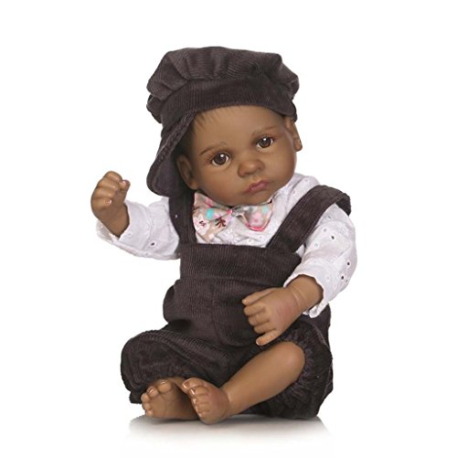 TERABITHIA Mini 10inch 26cm Black Alive Reborn Baby Dolls Silicone Full Body African American Boy Eyes Open