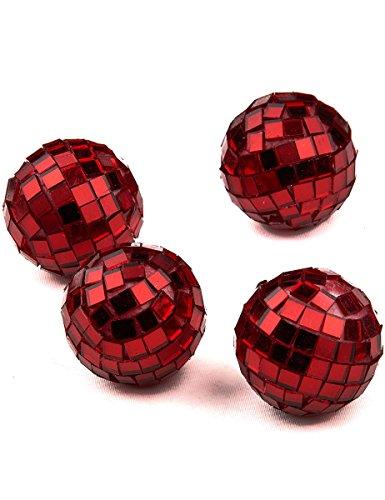 Generique - 4 Mini Boules à facettes Rouges