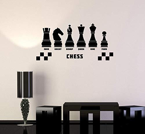 JXND Calcomanía de Vinilo para Pared, Pegatina de Juego de la Mente del Club de ajedrez, Mural, Sala de Juegos, Dormitorio, decoración del hogar, Pegatina de Pared 68x33cm