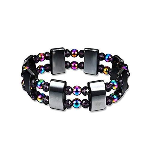 Bracelet Magnet Hematite Gemstone Bracelet Stone Bracelet Color Double-layer Magnetic Elastic Design Health Energy for Women and Men to Relieve Stress