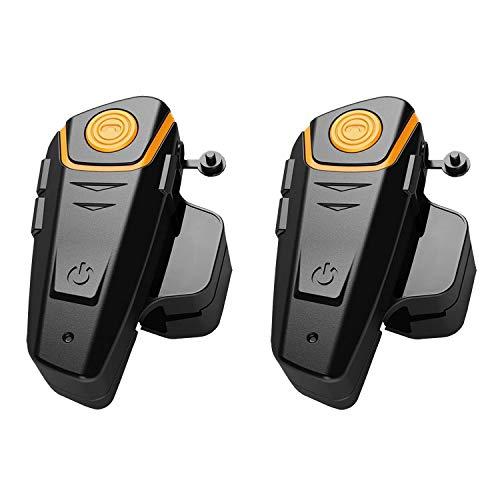 BT-S2 Interfono Moto Coppia, Auricolari Bluetooth Casco con Radion FM, Comunicazione Pilota e Passeggero - Kit Interfono 2 Caschi