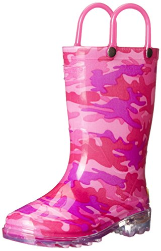 Western Chief Kids Girl's Waterproof Rain Boots That Light up with Each Step, Neo Camo, 8 M US Toddler