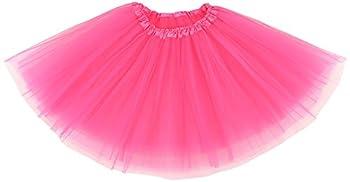 Simplicity Womens Elastic 3 Layered Tulle Tutu Skirt Ruffle Pettiskirt Hot Pink