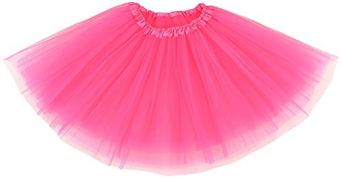 Simplicity Womens Elastic 3 Layered Tulle Tutu Skirt Ruffle Pettiskirt, Hot Pink