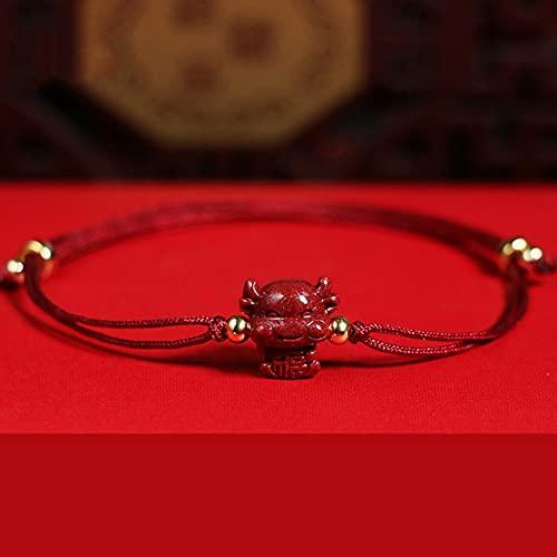 Feng shui amuleto pulsera cinnabar rojo cuerda chino zodiaco año animal suerte encanto ox brazalete fuerte talismán guardián malvado espíritu malvado para mujeres hombres rojo,send blessing cow