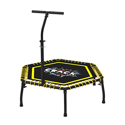 XGEAR Fitness Trampoline, Jumping Cardio Trainer, Portable Sports Trampoline, Aluminum Frame, Durable Mat, Premium Bungees, Adjustable Handle Bar, Workout Cardio Exercise for Kids Adults, Max 330 lbs