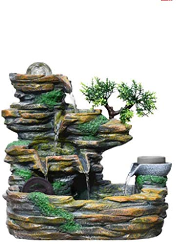 A-Generic Indoor Mountain Stone Fountain Three-Story Waterfall And Atomizers Perfect Desktop Decoration Fountain Family Living Room Landscape Landscape Green-Green