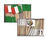 Mini Italy and Soccer Ball Toothpick Flags, 1 Box of 100 Italian and 1 Box of 100 Soccer Ball Toothpicks; 200 Small Mini Flag Cupcake Toothpicks or Tiny Cocktail Sticks & Picks