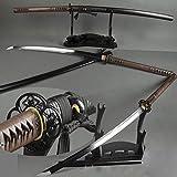 Hand Forged 47' Clay Tempered T1095 High Carbon Steel Katana,NAGINATA Battle Ready Japanese Samurai Sword Lengthen Knife Saber (#2, Long Japanese Samurai Sword)