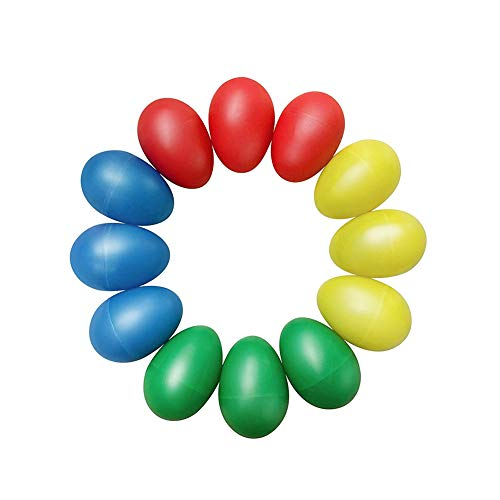 Ruijanjy 12st Egg Shaker Maracas Eier Plastic Egg Shaker Set Maracas Eier Schüttler für Kinder Party-Bevorzugungen Musik-Spielzeug zufällige Farbe