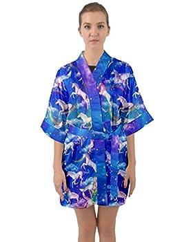 PattyCandy Womens Nightgown Galaxy & Rainbow Unicorn Print Kimono Robe - XL
