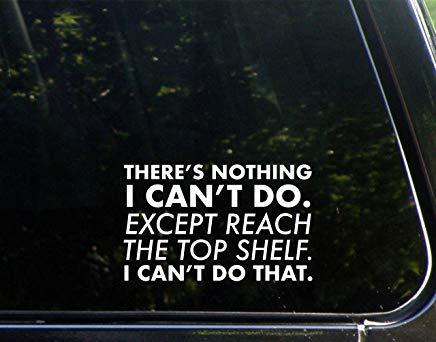 Er is niets wat ik niet kan doen. Behalve de bovenste plank bereiken. Ik kan die Vinyl Die Gesneden Decal Bumper Sticker niet doen voor Windows, Auto's, Vrachtwagens, Laptops, Etc.