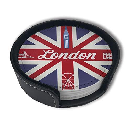 BJAMAJ Untersetzer mit britischer Flagge, Londoner Schild, hochwertiges PU-Leder, rund, Getränkeuntersetzer mit Halter, geeignet für Zuhause und Küche (6 Stück)