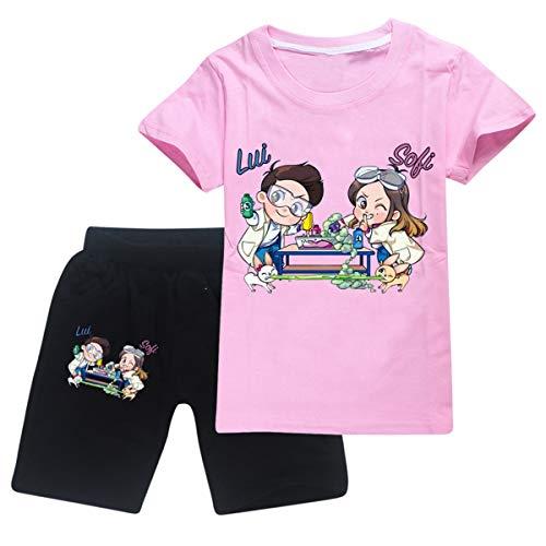 Parkourer Maglietta a Maniche Corte Lui e Sofi T-Shirt in Puro Cotone per Ragazzi e Ragazze Felpa in Cotone a Maniche Corte Estive Sportiva da Esterno Set