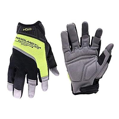 HANDLANDY Framer Work Gloves Open-Finger Carpenters Gloves?Dexterity Fingerless Framing Gloves (Extra Large)