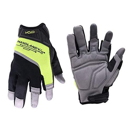 HANDLANDY Framer Work Gloves Open-Finger Carpenters Gloves,Dexterity Fingerless Framing Gloves