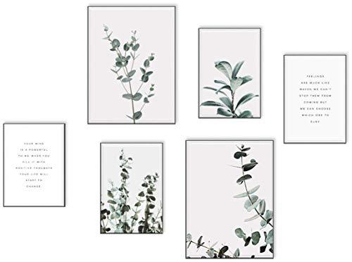 ELAFI® Premium Poster Set groß | Posterset als Deko für Schlafzimmer Bilder mit Sprüche Wohnzimmer Deko |Posterset 6X - 2X DINA3 & 4X DINA4 ohne Bilderrahmen | Bilder für Wohnzimmer Eukalyptus