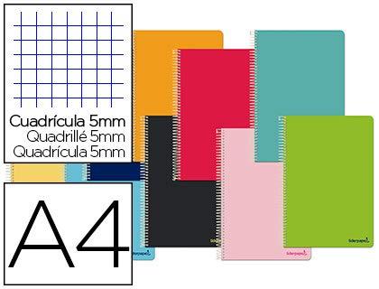 Cuaderno espiral liderpapel a4 micro smart tapa blanda 80h60gr cuadro 5mm doble margen 4 taladros colores surtidos. (10 Unidades)
