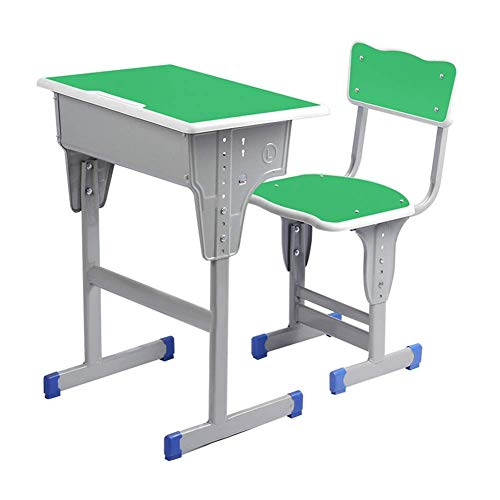 N/Z Daily Equipment Kids Desk and Chair Set Height Adjustable Kids Table and Chair Set Home School Use Anti Reflective Children Study Table Blue Green