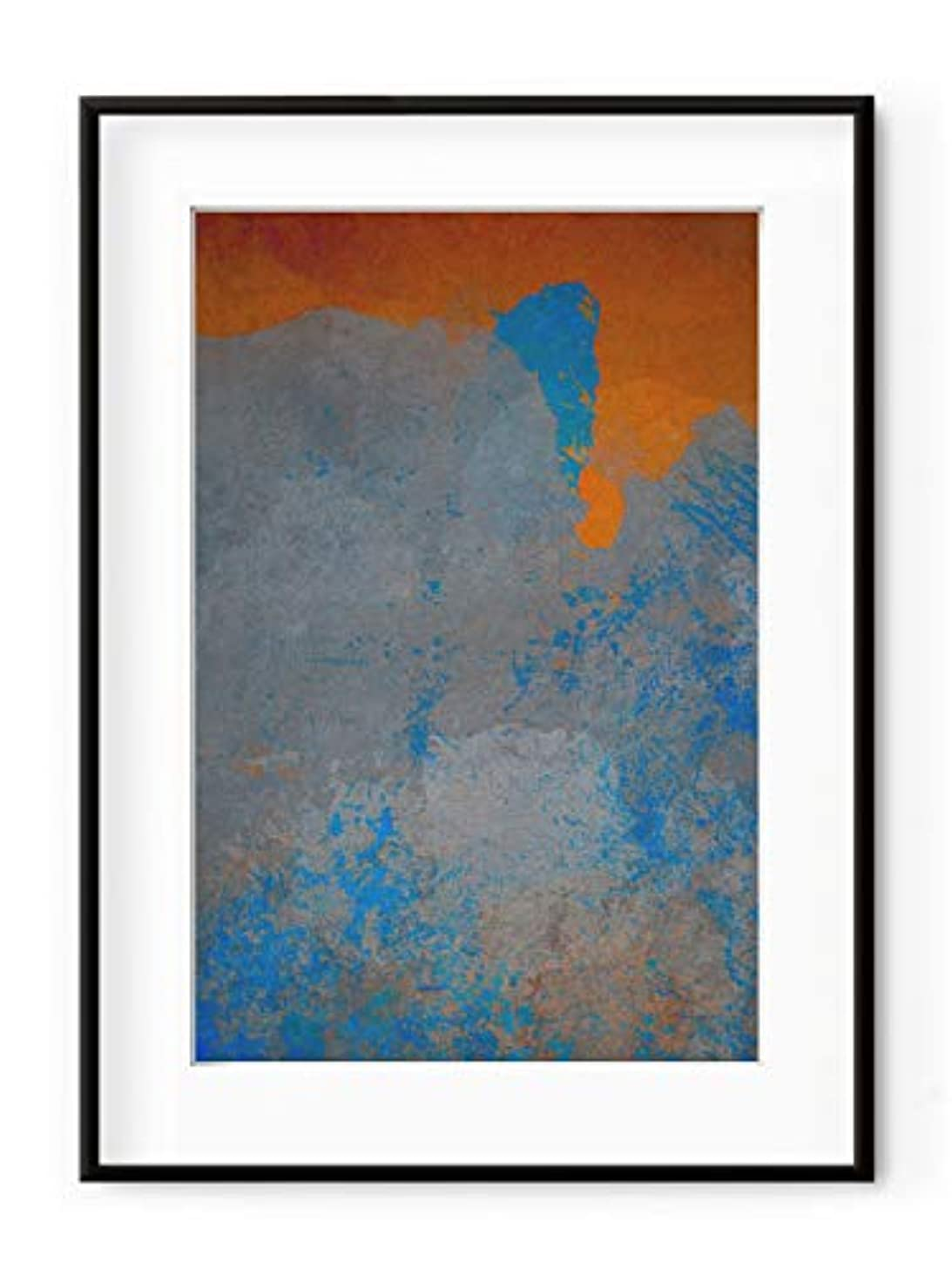 Orange and Blue Abstract, White Lacquer Wood Frame, with Mount, Multicolored, 40x50