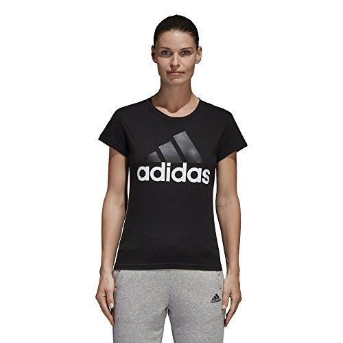 adidas Damen Essentials Linear Slim T-Shirt, Black/White, M