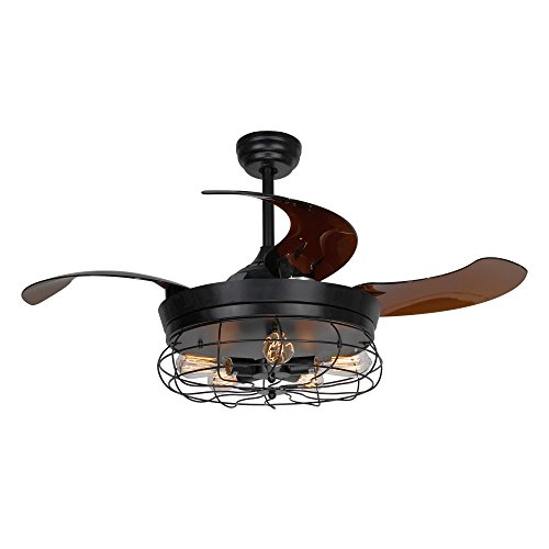 Ceiling Fans with Lights 46 Inch Ceiling Fan with Remote Vintage Cage Chandelier Fans with...