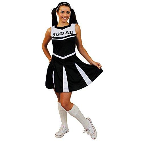 I LOVE FANCY DRESS LTD Déguisement pour Femme de Cheerleader avec Un Ensemble Noir Haut et Jupe en 1 pièce. Idéal pour Les enterrements de Vie de Jeune Fille. ( Small )