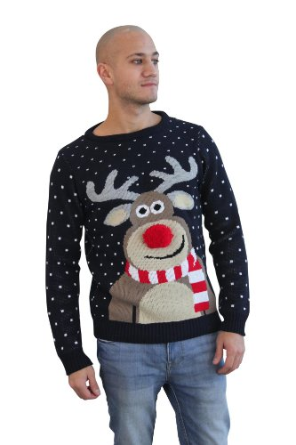Christmas Novelty Reindeer Fairisle Snowflake Knitted Xmas Jumper Sweater