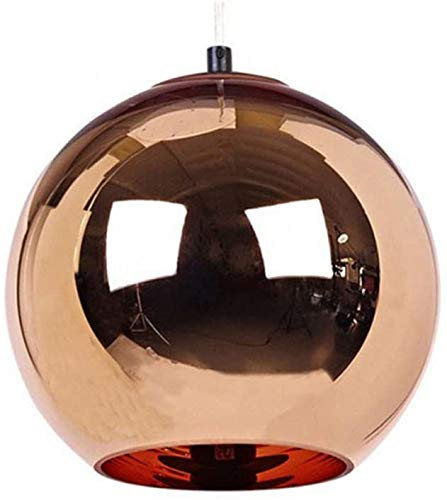 Creative Single Head Chrome Red Copper Mirror Ball hanglamp Globe Opknoping Kroonluchter Barn Warehouse Metall Ronde lampenkap Licht van het Plafond (Maat: Diameter 40cm)