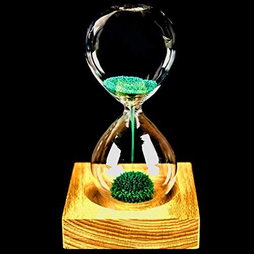 VJRQM Reloj de arena magnético de madera + vidrio + polvo de hierro y arena con vidrio de arena con embalaje de reloj de arena de 13,5 cm 5,5 cm asiento de madera regalo regalo verde