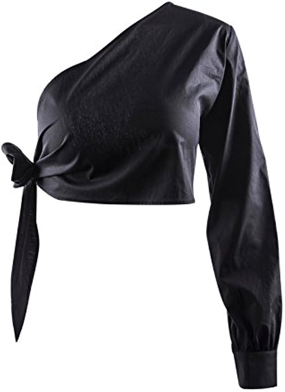 GUYIVVU GUYIVVU GUYIVVU Frauen Jacke Lace Wild Damen Kleidung Party Saugen Augen Frühling Und Sommer Backless Single Schulter Sleeve Dünnes Nabel Shirt Ring Tie Shirt T-Shirt B07BTTM25S  Sport 19fbdb