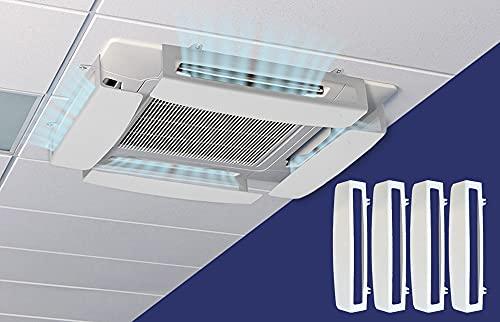 KIT da 4 Deflettori per condizionatori a cassetta CLIMIK QUADRO, Impedisci all'aria di soffiare dritto, materiale plastico leggero di colore bianco lucido (4 pezzi), facile da montare