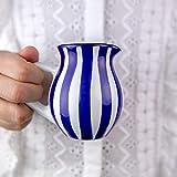Handmade Dark Navy Blue Stripe Small 150ml/5oz Ceramic Creamer, Milk Jug, Pourer, Pitcher Jug, Pottery Housewarming Gift for Tea Coffee Lovers by City to Cottage