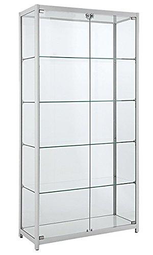 Dila GmbH Glasvitrine mit LED Beleuchtung Verkaufsvitrine Vitrinenschrank Vitrine Standvitrine Ladeneinrichtung Sicherheitsglas